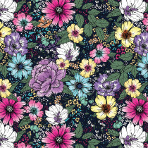 "Large Floral Dark Blue 145cm (57"" wide) Cotton Lawn Fabric by Devonstone"