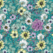 "Large Floral Dark Turquoise 145cm (57"" wide) Cotton Lawn Fabric by Devonstone"