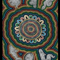 "Ngurambang Collection Dhuray (Connection) Cotton/Linen 26"" x 54.5"" Fabric Panel by Devonstone Collection"