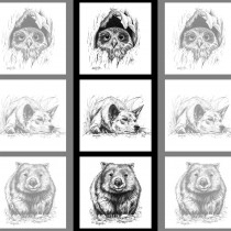 "Natalie Jane Parker Collection 40cm (15-3/4"") Tri Fabric Panel Owl, Dingo and Wombat Sketches by Devonstone"