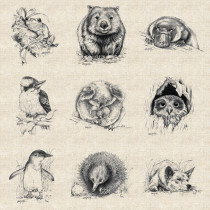 "Natalie Jane Parker Collection 137cm (54"") wide Linen/cotton Australian Animal Sketches Fabric Panel by Devonstone Collection (please note small mark on the panel)"