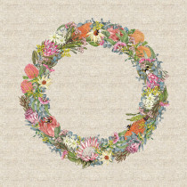 "Alphabet Botanical Collection 45cm (18"") Cotton/Linen Floral Wreath Fabric Panel by Devonstone Collection"