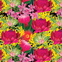 Orenda Joy Green Large Waratah Floral Black by Devonstone Collection
