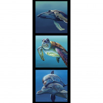 Chris Riley Collection 2 Whale, Turtle, Dolphines 40cm Tri Fabric Panel by Devonstone Collection