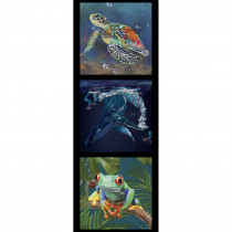 Karen Roberts Collection 3 Turtle, Whale and Frog 40cm Tri Fabric Panel by Devonstone Collection