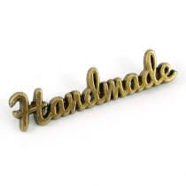 Emmaline Bags Metal Bag Label: Script Style Handmade Antique Brass