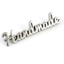 Emmaline Bags Metal Bag Label: Script Style Handmade Silver Nickel