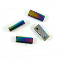 "Emmaline Bags Strap End Cap Rectangular 25mm (1"") Iridescent Rainbow - 4pk"
