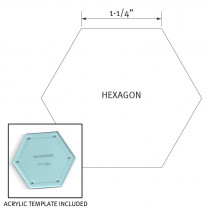"English Paper Piecing Pre-cut Papers and Acrylic Template - Hexagon 1-1/4"" - 50pk"