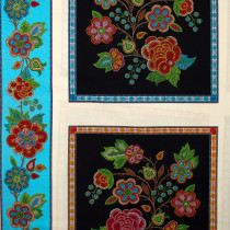 "Tucson Embroidered Flowers 60cm (24"") Panel Black by Elizabeth Studios"