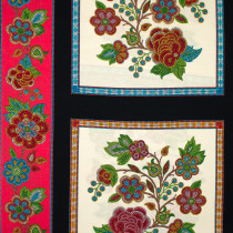 "Tucson Embroidered Flowers 60cm (24"") Panel Cream by Elizabeth Studios"