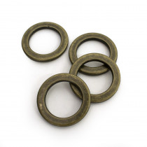 "Voodoo Bag Hardware Flat O-Rings 20mm (3/4"") Antique - 4pk"
