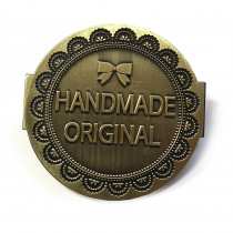 "Monica Poole Designs Handmade Original 40mm (1-1/2"") Metal Bag Label Antique Brass"
