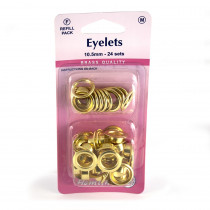 "Hemline Eyelet Refills 10.5mm (3/8"") 24pc Gold"