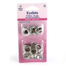 "Hemline Eyelet Refills 10.5mm (3/8"") 24pc Silver"