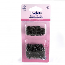 "Hemline Eyelet Refills 5.5mm (1/4"") 60pc Black"