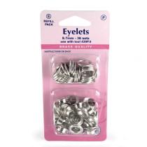 "Hemline Eyelet Refills 8.7mm (5/16"") 36pc Silver"