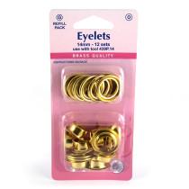 "Hemline Eyelet Refills 14mm (9/16"") 12pc Gold"