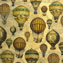 Vintage Verne (Hot Air Balloons) Multi 150cm wide by Indigo Fabrics