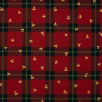 Cherry Tartan Red/Gold by Kokka Fabric