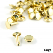 Emmaline Bags Metal Double-Capped Rivets Gold Large Size 9mm x 10mm - 50pk