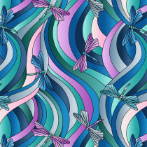 Reflections Dragonfly Ribbons Green & Blue by Lewis & Irene