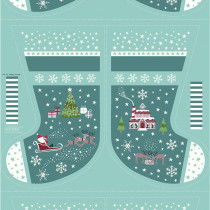 """Christmas Glow Stocking 36"""" Fabric Panel Teal by Lewis & Irene"""