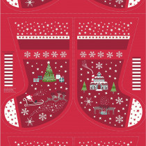 """Christmas Glow Stocking 36"""" Fabric Panel Red by Lewis & Irene"""
