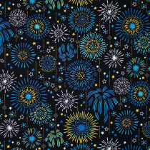 Fireworks Black by Kokka Fabric