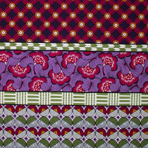 Jumbo Retro Patchwork Borders Purple by Kokka Fabric