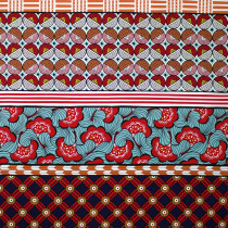 Jumbo Retro Patchwork Borders Red by Kokka Fabric