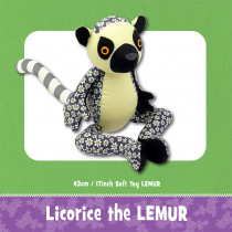 Licorice the Lemur Soft Toy Sewing Pattern by Funky Friends Factory