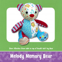 Melody Memory Bear Soft Toy Sewing Pattern by Funky Friends Factory