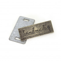Emmaline Bags Metal Bag Label: Handmade with Bird Antique Brass