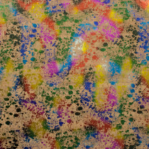 "PRE-ORDER Portuguese Natural Printed Cork Metallic Rainbow Splatter - Sizing from 70cm x 50cm (27-1/2"" x 19-1/2"")"