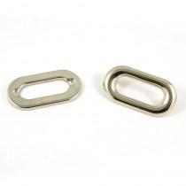 Oval Shaped Metal Grommet 25mm Silver - 4pk