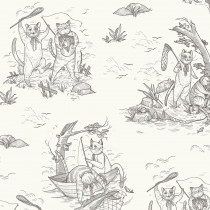 Cat Tales Fishing Trip Toile Sepia By Free Spirit Fabric