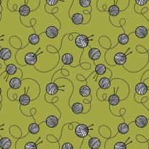 Cat Tales Yarn Crawl Green By Free Spirit Fabric