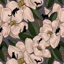 Cat Tales Magnolia Garden Natural By Free Spirit Fabric