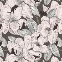 Cat Tales Magnolia Garden Sepia By Free Spirit Fabric