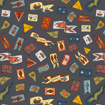 Cat Tales Pennants Charcoal By Free Spirit Fabric