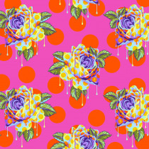 PRE-ORDER Tula Pink Curiouser and Curiouser Painted Roses Daydream Pink By Free Spirit Fabric