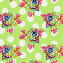 PRE-ORDER Tula Pink Curiouser and Curiouser Painted Roses Sugar Green By Free Spirit Fabric