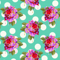PRE-ORDER Tula Pink Curiouser and Curiouser Painted Roses Wonder Aqua By Free Spirit Fabric