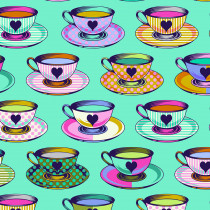 PRE-ORDER Tula Pink Curiouser and Curiouser Tea Time Daydream Aqua By Free Spirit Fabric