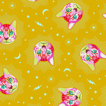 PRE-ORDER Tula Pink Curiouser and Curiouser Cheshire Wonder Yellow By Free Spirit Fabric