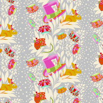 PRE-ORDER Tula Pink Curiouser and Curiouser 6pm Somewhere Wonder Grey By Free Spirit Fabric