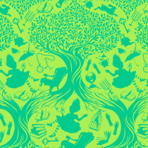 PRE-ORDER Tula Pink Curiouser and Curiouser Down the Rabbit Hole Bewilder Green By Free Spirit Fabric