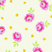 "PRE-ORDER Tula Pink Curiouser and Curiouser 108"" Backing Fabric Big Buds Wonder Cream by Free Spirit Fabrics"