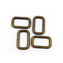 "Voodoo Bag Hardware Rectangular Wire Rings 20mm (3/4"") Antique Brass - 4pk"